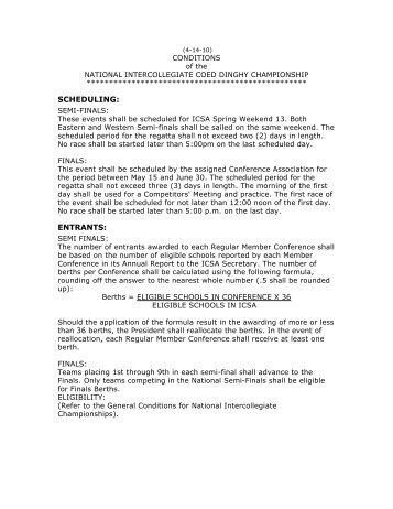 Conditions-Coed Semis 2010 (PDF) - 2011 ICSA Semi-Finals