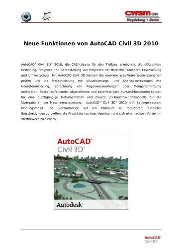 Neue Funktionen von Autocad Civil 3D 2010 - CWSM Gmbh