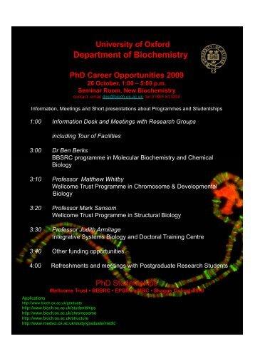 University of Oxford Department of Biochemistry PhD Career ...