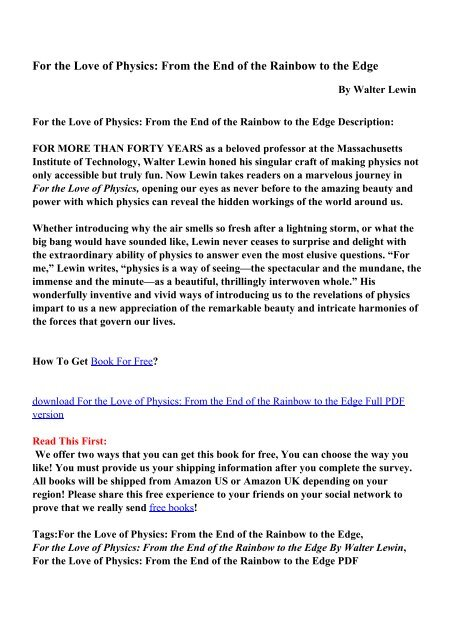 Lewin book pdf walter