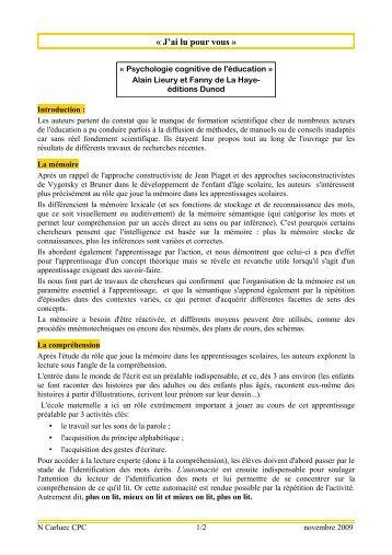 Psychologie cognitive de l'éducation (A. Lieury & F. de LaHaye)