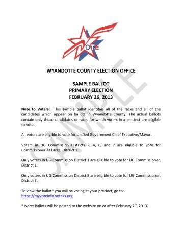 Sample Ballot Primary 2013 - Unified Government of Wyandotte ...