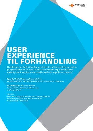 User experience til forhandling - Dansk Kommunikationsforening