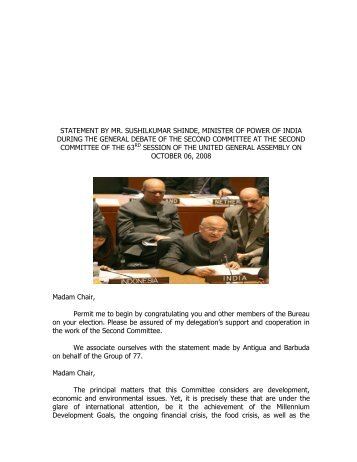 statement by mr. sushilkumar shinde, minister of power of india ...
