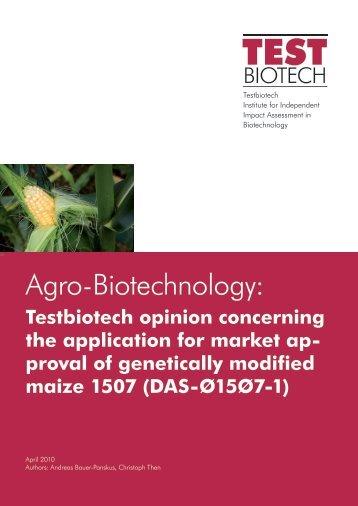 Opinion Testbiotech 1507 Maize engl_0