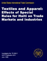 Textiles and Apparel: Effects of Special Rules for Haiti on ... - USITC