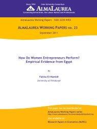 Empirical Evidence from Egypt - AlmaLaurea