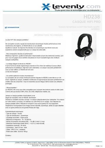 Fiche produit SENNHEISER - HD238, CASQUE HIFI PRO ... - Levenly