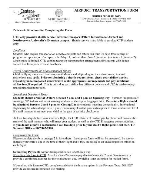 airport shuttle form center for talent development northwestern
