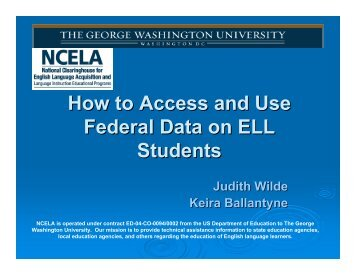 How to Access and Use Federal Data on ELL Students - NCELA ...