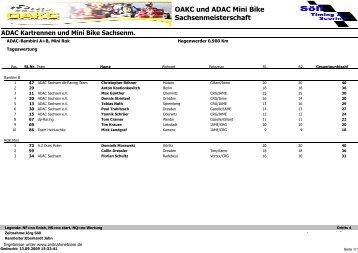 OAKC und ADAC Mini Bike Sachsenmeisterschaft - Zeitnahmeteam.de