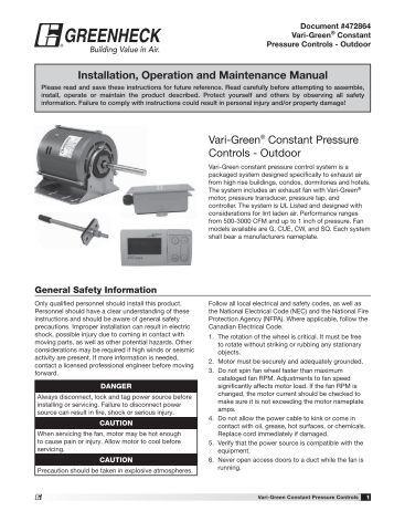 installation mounting vari green control greenheck