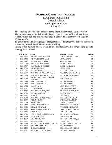 General Science First Open Merit List 16 Aug 2011 - ilmkidunya