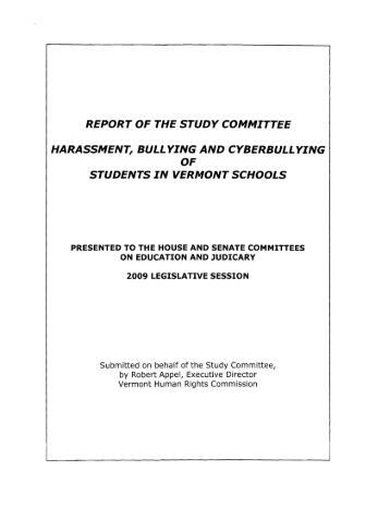 Harassment, Bullying and Cyberbullying of Students in Vermont ...