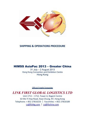 General Freight Forwarding Information - HIMSS AsiaPac