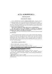 ACTA AGROPHYSICA - zbiór publikacji