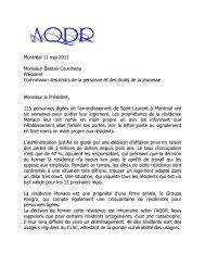 Lettre à Gaétan Cousineau, président de la commission des ... - AQDR