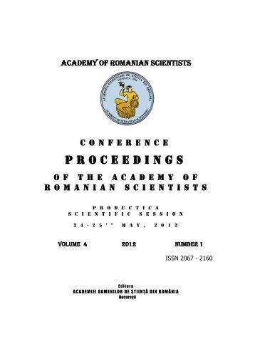 PROCEEDINGS - Academia Oamenilor de Stiinta din Romania