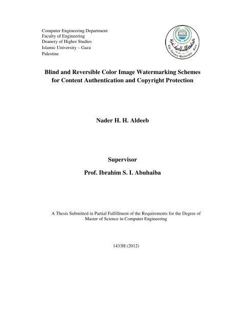 reversible watermarking thesis