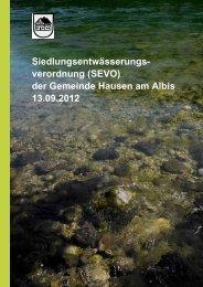 Siedlungsentwässerungsverordnung SEVO ohne Tarifordnung