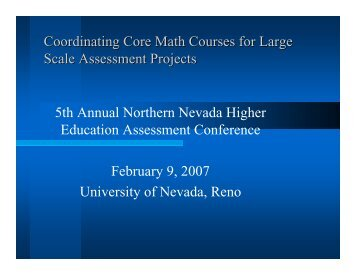 Coordinating Core Math Courses for Large Scale Assessment ...