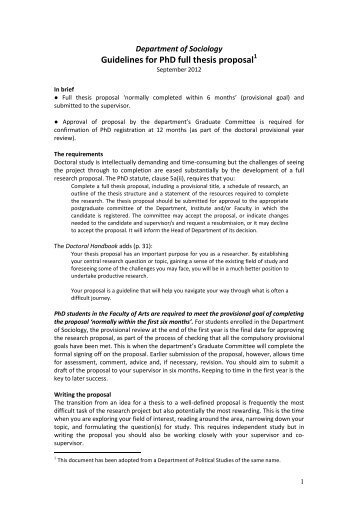 Sociology guidelines for PhD full thesis proposal - Faculty of Arts ...