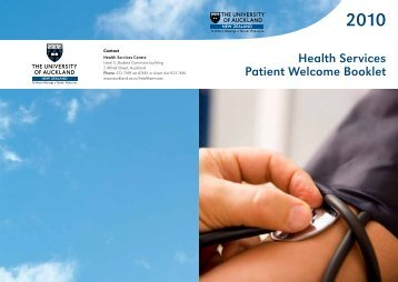 Health Services Patient Welcome Booklet - The University of Auckland