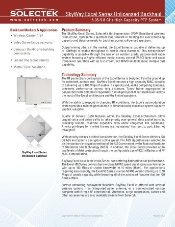 Excel 5 GHz XL50/100 datasheet - Solectek Corporation