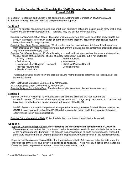 Supplier Corrective Action Request - Astronautics