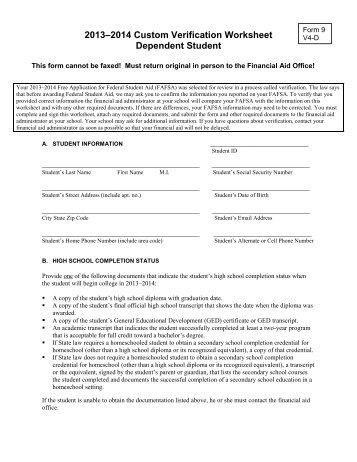 Dependent Student Verification Form V4 - Delaware Technical ...