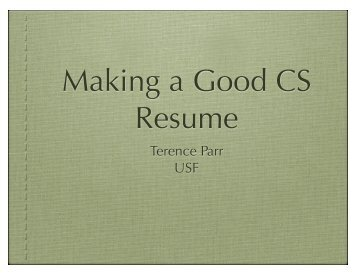 Making a Good CS Resume
