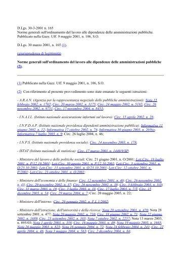 Decreto Legislativo del 30 marzo 2001 n. 165 - Azienda Sanitaria ...