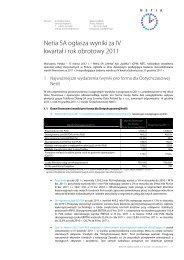 Netia SA ogłasza wyniki za IV kwartał i rok obrotowy 2011