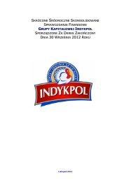 Skonsolidowane sprawozdanie finansowe GK Indykpol za III kwartał ...