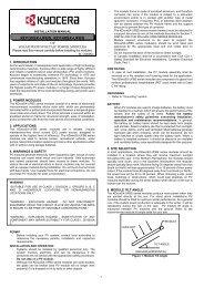 Installation Manual - KYOCERA Solar
