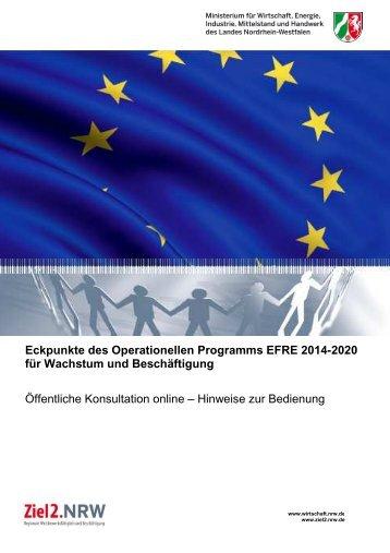 Bedienungshinweise Konsultationplattform - Ziel2.NRW