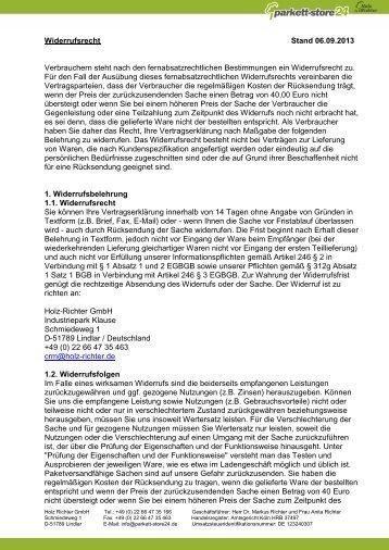 Widerrufsrecht Stand 01.08.2012 Verbrauchern ... - Parkett-Store24