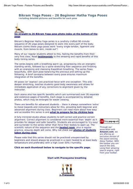 Bikram Yoga Poses - 26 Beginner Hatha Yoga Poses