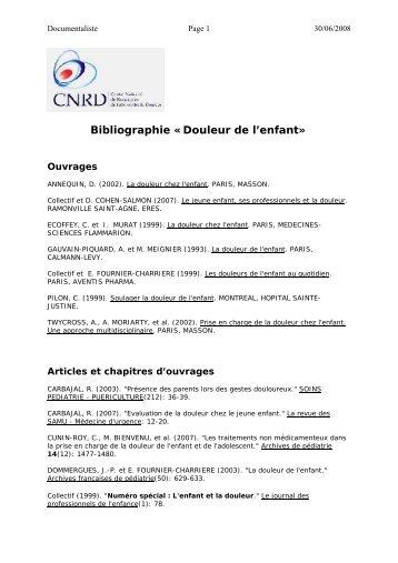 Bibliographie «Douleur de l'enfant» - CNRD
