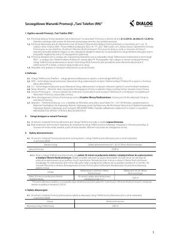 """Szczegółowe Warunki Promocji """"Tani Telefon (RN)"""" - Dialog"""