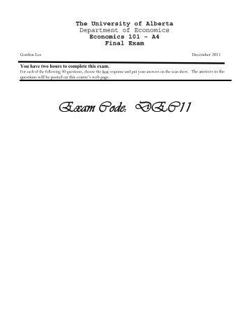 Exam Code: DEC11 - University of Alberta