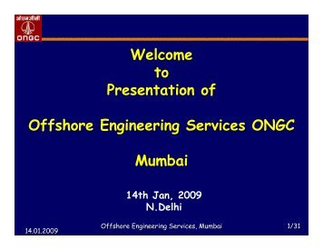 Presentation of Offshore Engineering Services ONGC - pptfun