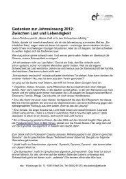 Gedanken zur Jahreslosung 2012: Zwischen Last und Lebendigkeit
