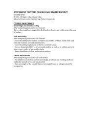 ASSESSMENT CRITERIA FOR BIOLOGY DEGREE PROJECT ...