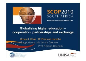 Globalising higher education - University of South Africa