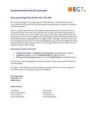 Kundeninformation für EGT-Gaskunden - EGT Energie