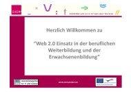 """Herzlich Willkommen zu """"Web 2.0 Einsatz in der beruflichen ... - SVEA"""