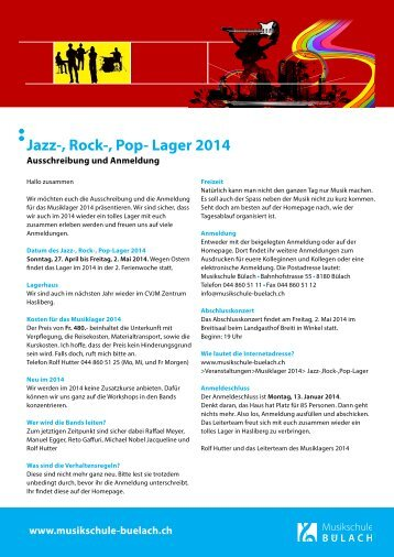 Jazz-, Rock-, Pop- Lager 2014 - Musikschule Bülach