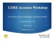 CORE Technology Workshop - UCI CORE Accounts