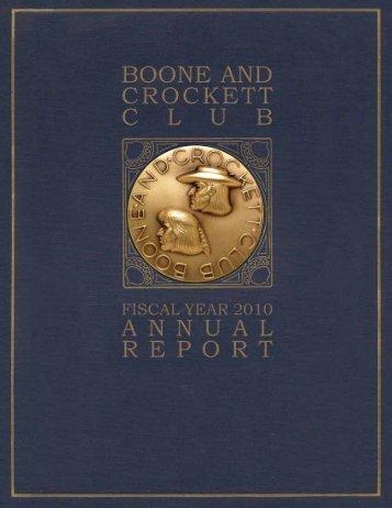 2010 Annual Report PDF - Boone and Crockett Club